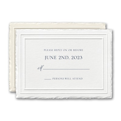 Stylish Feather Deckle Response Card and Envelope