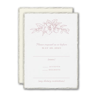 Floral Pearl Feather Deckle Response Card and Envelope