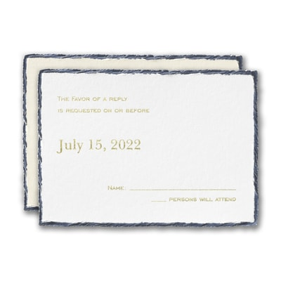 Navy Feather Deckle Response Card and Envelope