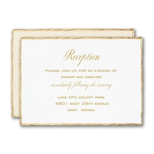 Gold Feather Deckle Reception Card