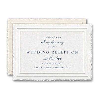 Stylish Feather Deckle Reception Card