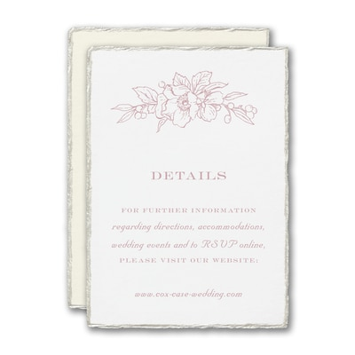 Floral Pearl Feather Deckle Reception Card