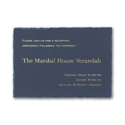 Navy Feather Deckle Reception Card