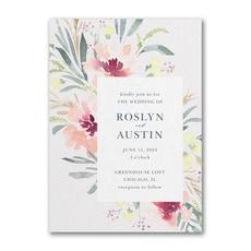 greenery wedding invitation: Bright Floral Border Invitation
