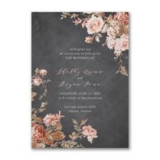 greenery wedding invitation: Wooden Blossoms Invitation