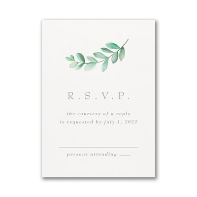 Simplistic Botanical Response Card and Envelope
