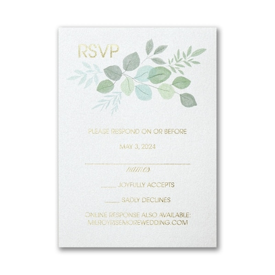 Edged Leaves Response Card with Envelope