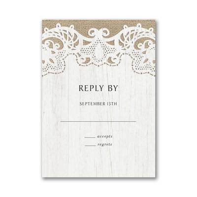 Ornate Burlap Response Card with Envelope