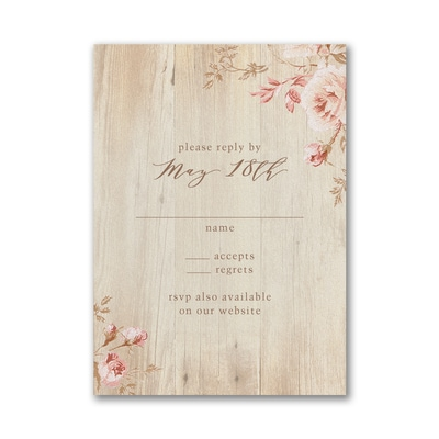 Wooden Blossoms Response Card with Envelope