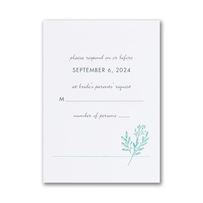 Greenery Initial Response Card with Envelope