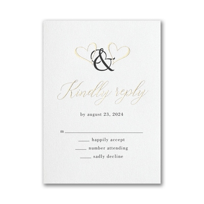 Ampersand Hearts Response Card with Envelope