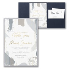 Luxury wedding invitations: Painterly Decadence Invitation with Pocket and Backer