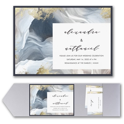 Enchanted Marble Invitation with Pocket and Backer