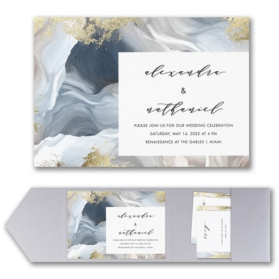 Enchanted Marble Invitation with Pocket