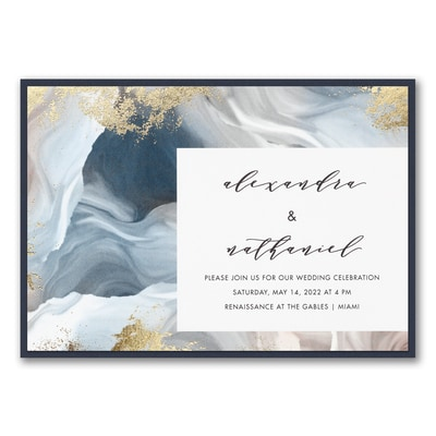 Enchanted Marble Invitation with Backer