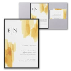 Painted Passion Invitation with Pocket and Backer  - Monogram Invitation