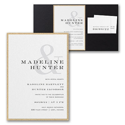 Modern Ampersand Invitation with Pocket and Backer