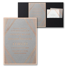 Pocket Invitation: Geometric Stripes Invitation with Pocket and Backer