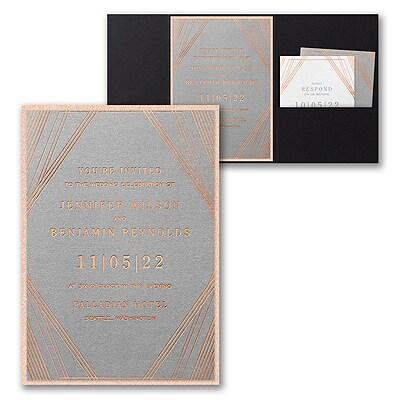 Geometric Stripes Invitation with Pocket and Backer