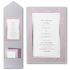 Luxury wedding invitations: Modern Borders Invitation with Pocket and Backer