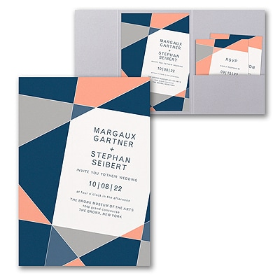 Geometric Color Block Invitation with Pocket