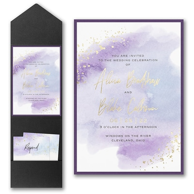 Watercolor Dreams Invitation with Pocket and Backer