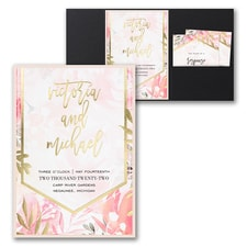 Pocket Invitation: Vibrant Botanicals Invitation with Pocket and Backer