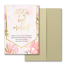 Pocket Invitation: Vibrant Botanicals Invitation with Pocket