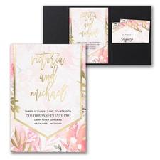 floral invitation: Vibrant Botanicals Invitation with Pocket