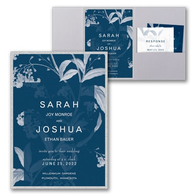 Floral Elegance Invitation with Pocket and Backer