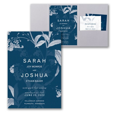 Floral Elegance Invitation with Pocket