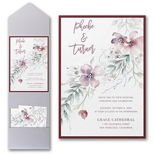 floral invitation: Boho Sophistication Invitation with Pocket and Backer