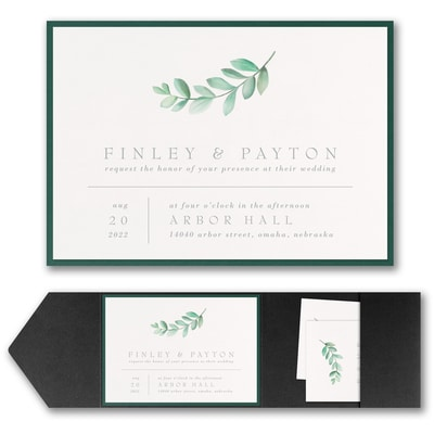 Simplistic Botanical Invitation with Pocket and Backer