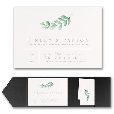 Simplistic Botanical Invitation with Pocket