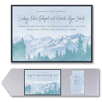 Mountain Beauty Invitation with Pocket and Backer