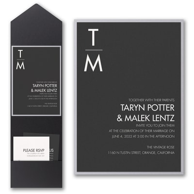 Classic Typography Invitation with Pocket and Backer