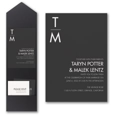 Classic Typography Invitation with Pocket  - Monogram Invitation