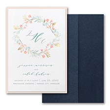 Fresh Monogram Invitation with Pocket and Backer  - Monogram Invitation