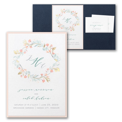 Fresh Monogram Invitation with Pocket and Backer