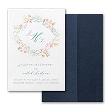 Monogram wedding invitation: Fresh Monogram Invitation with Pocket