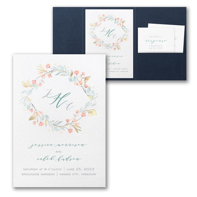 Fresh Monogram Invitation with Pocket