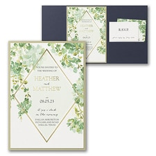 Luxury wedding invitations: Cascading Vine Invitation with Pocket and Backer