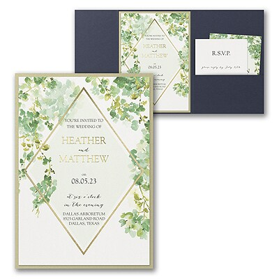Cascading Vine Invitation with Pocket and Backer