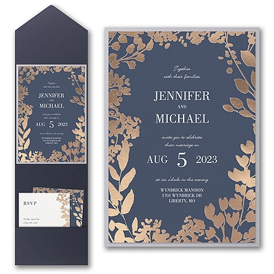 Decorative Floral Border Invitation with Pocket and Backer