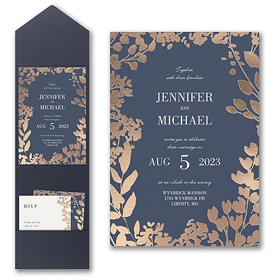 Decorative Floral Border Invitation with Pocket