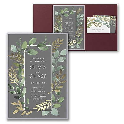 Botanical Grandeur Invitation with Pocket and Backer