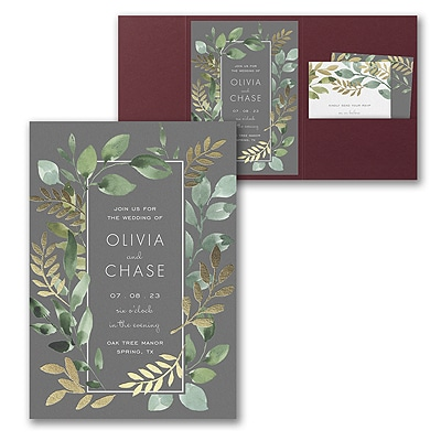 Botanical Grandeur Invitation with Pocket