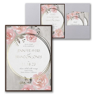 Pastel Roses Invitation with Pocket and Backer