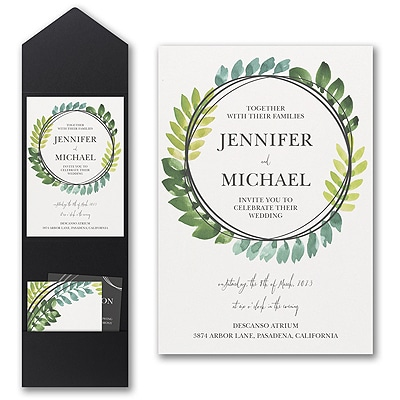 Circle of Leaves Invitation with Pocket