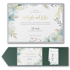 Luxury wedding invitations: Botanic Beauty Invitation with Pocket and Backer